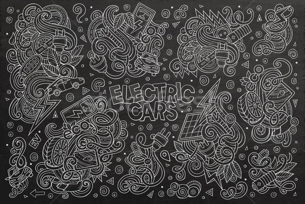 Chalkboard vector doodle cartoon set of Electric cars objects Stock photo © balabolka