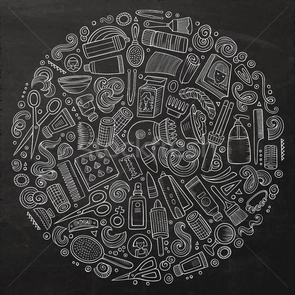 Vektör ayarlamak kuaför karikatür karalama nesneler Stok fotoğraf © balabolka