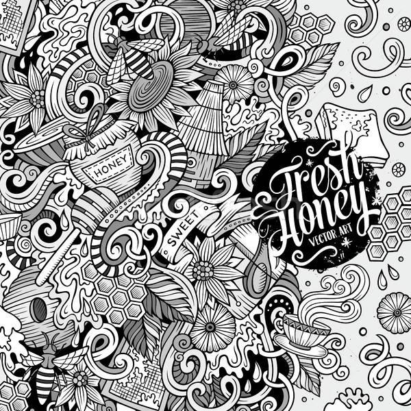 Stok fotoğraf: Karikatür · karalamalar · bal · çerçeve · dizayn · sevimli