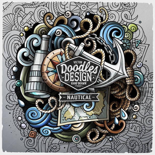 Nautical cartoon vector doodle illustration Stock photo © balabolka
