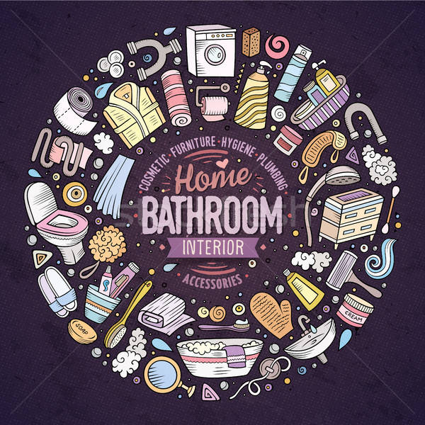 Stock photo: Vector set of Bathroom cartoon doodle objects