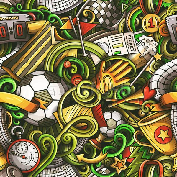 Stock fotó: Rajz · firkák · futball · végtelen · minta · futball · szimbólumok