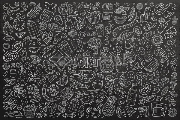 Vector doodles cartoon set of Diet food objects and elements Stock photo © balabolka