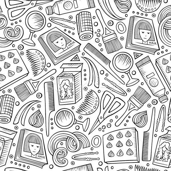 Karikatür kuaför semboller nesneler elemanları Stok fotoğraf © balabolka