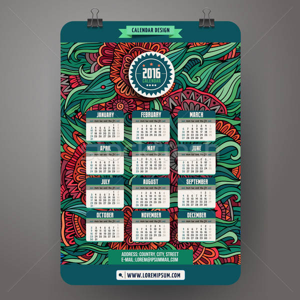 Cartoon kalender 2016 jaar Stockfoto © balabolka
