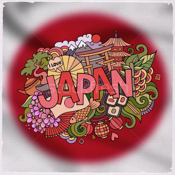 Japan country hand lettering and doodles elements  Stock photo © balabolka
