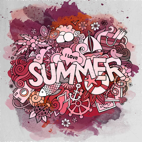 Stock photo: Summer watercolor hand lettering and doodles elements