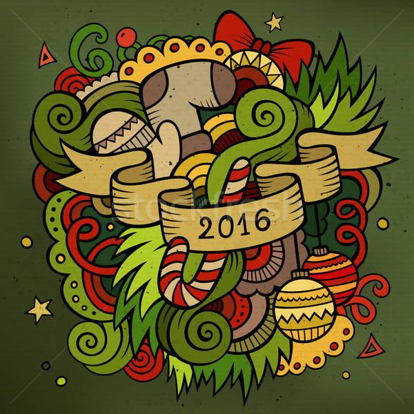 2016 új év firkák elemek vektor színes Stock fotó © balabolka