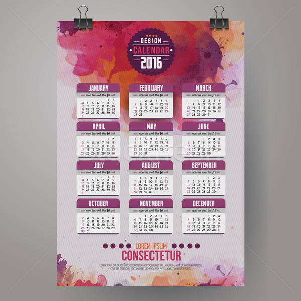 2016 Year Calendar with watercolor paint background Stock photo © balabolka