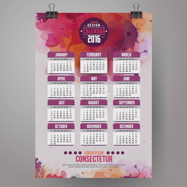 2016 jaar kalender aquarel verf Engels Stockfoto © balabolka