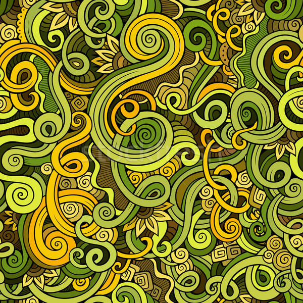 Decorative hand drawn doodle nature ornamental curl  seamless pattern Stock photo © balabolka