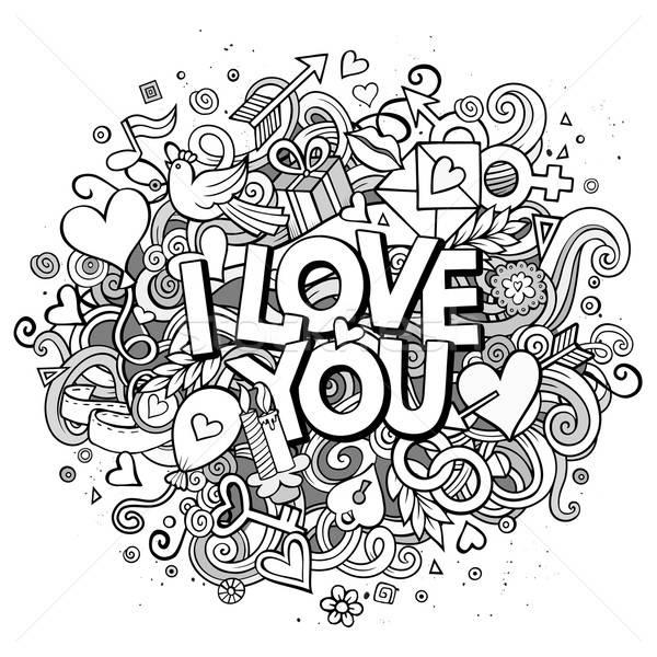 Cartoon vector hand drawn Doodle I Love You illustration Stock photo © balabolka