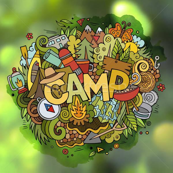Campo estivo mano scarabocchi elementi campo simboli Foto d'archivio © balabolka