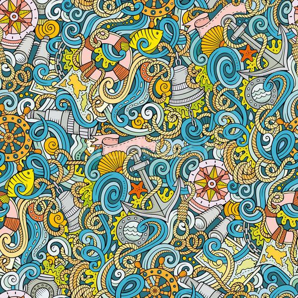 Rajz tengerészeti firkák végtelen minta részletes tárgyak Stock fotó © balabolka