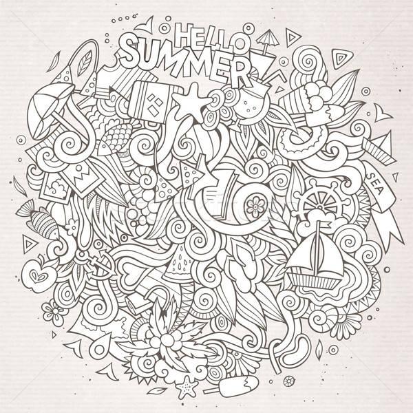 Firkák absztrakt dekoratív nyár rajz illusztráció Stock fotó © balabolka