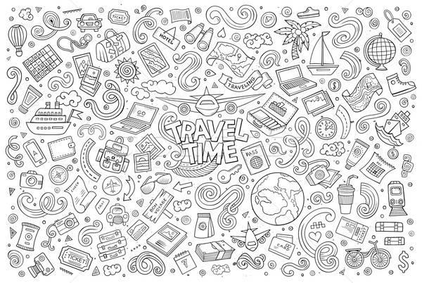 Szett utazás tervez tárgyak szimbólumok vonal Stock fotó © balabolka