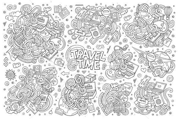 Set of travel planning objects and symbols Stock photo © balabolka
