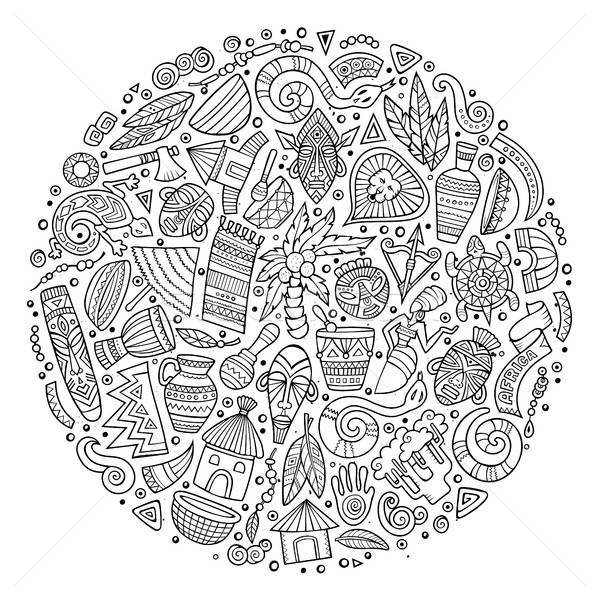Sketchy set of Africa cartoon doodle objects Stock photo © balabolka