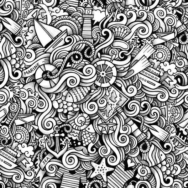 Rajz kézzel rajzolt tengeri tengerészeti firkák végtelen minta Stock fotó © balabolka