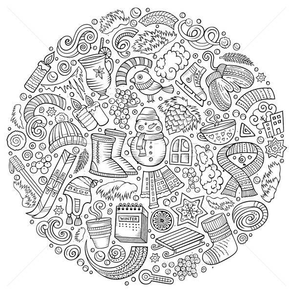 Set of Winter cartoon doodle objects, symbols and items Stock photo © balabolka