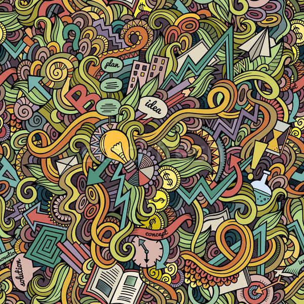 Cartoon cute doodles hand drawn Idea seamless pattern Stock photo © balabolka