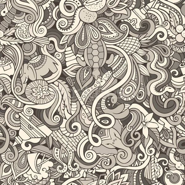Cartoon cute doodles hand drawn Indian culture seamless pattern Stock photo © balabolka