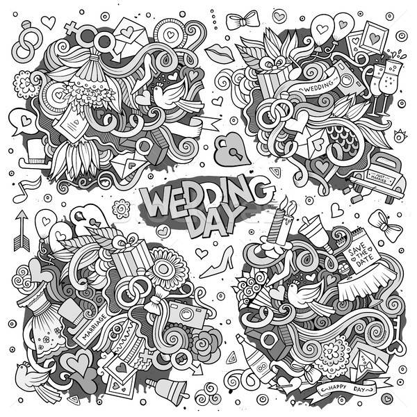 Stock photo: Wedding and love sketchy vector doodle designs