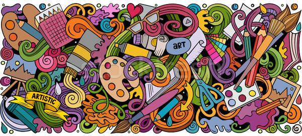 Desenho animado vetor arte projeto horizontal Foto stock © balabolka