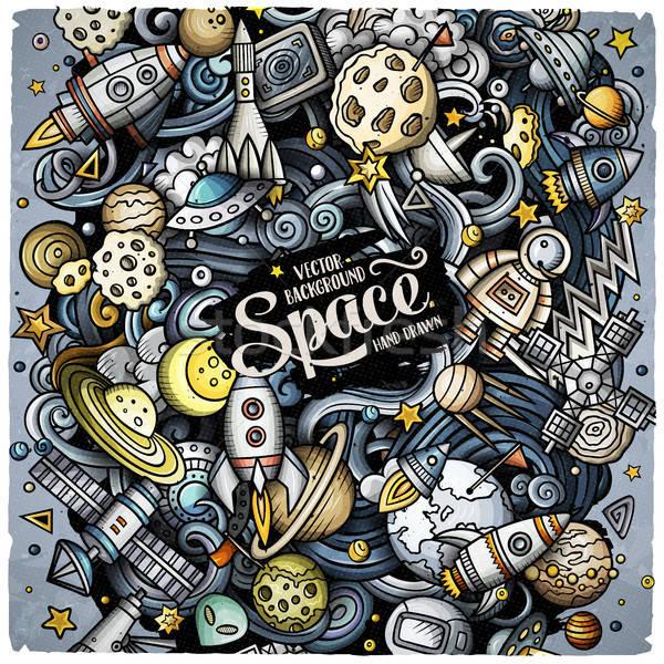 Stock photo: Cartoon vector doodles Space illustration