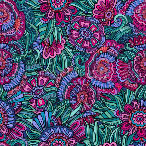 Zdjęcia stock: Wektora · bezszwowy · streszczenie · kwiaty · wzór · nieskończony