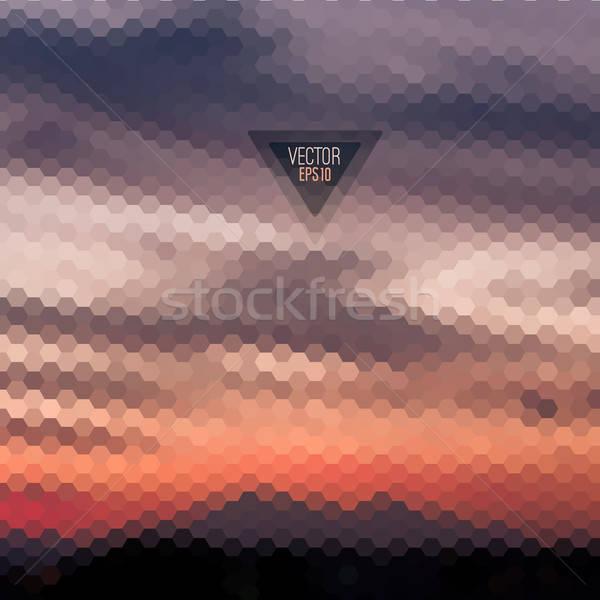 Retro landscape pattern of geometric shapes. Stock photo © balabolka