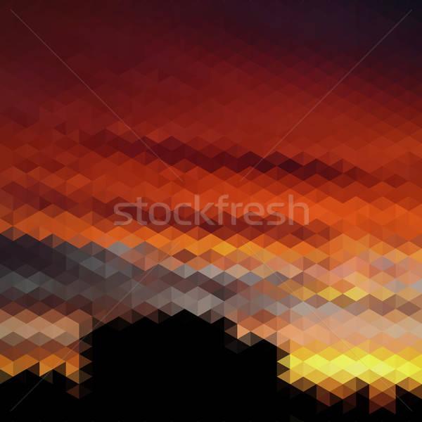 復古 日落 模式 幾何 商業照片 © balabolka