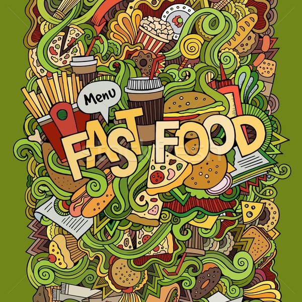 Gyorsételek kéz firkák elemek étel kávé Stock fotó © balabolka