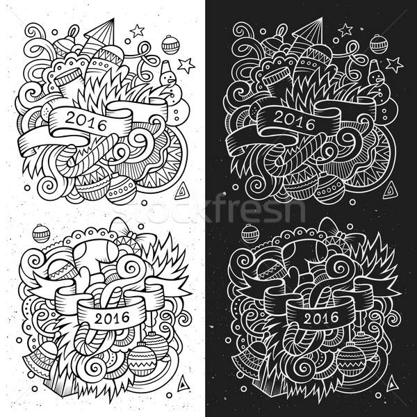 New year doodles elements sketchy and chalkboard emblems Stock photo © balabolka
