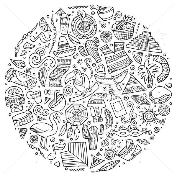 Line art vector hand drawn doodle cartoon set of Latin American  Stock photo © balabolka