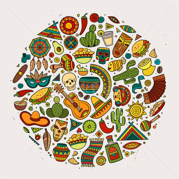 Colorido vector dibujado a mano garabato Cartoon establecer Foto stock © balabolka
