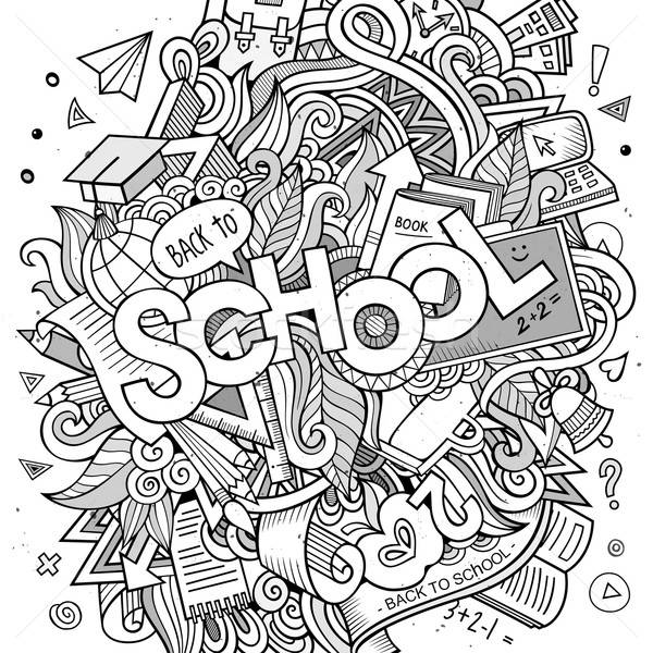 Cartoon sketchy hand-drawn Doodle on the subject of education Stock photo © balabolka