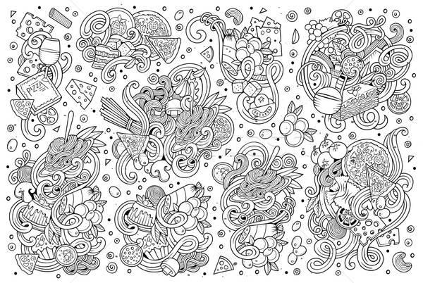 Stockfoto: Lijn · kunst · vector · cartoon · ingesteld · Italiaans · eten