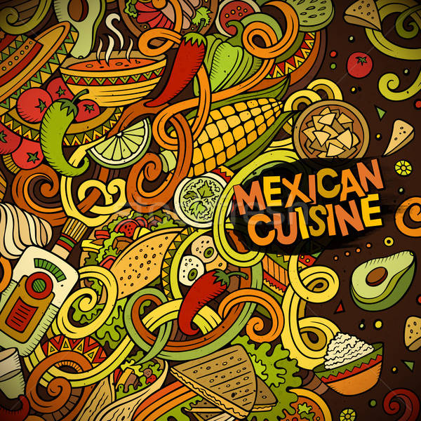 Cartoon mexican food doodles frame design Stock photo © balabolka
