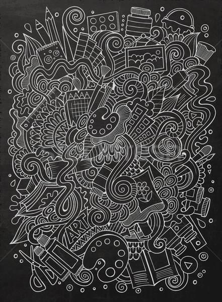 Cartoon cute scarabocchi artistico illustrazione Foto d'archivio © balabolka