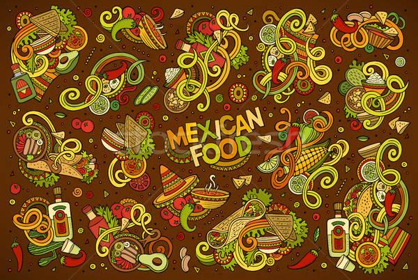 Firka rajz szett mexikói étel tárgyak színes Stock fotó © balabolka