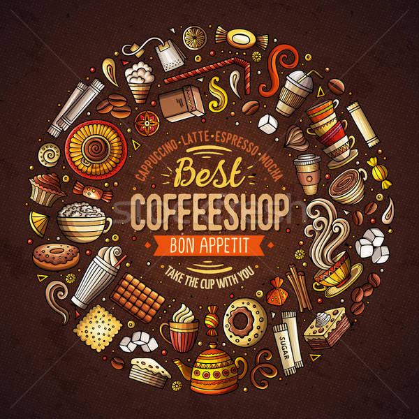 набор кофе Cartoon болван объекты Сток-фото © balabolka
