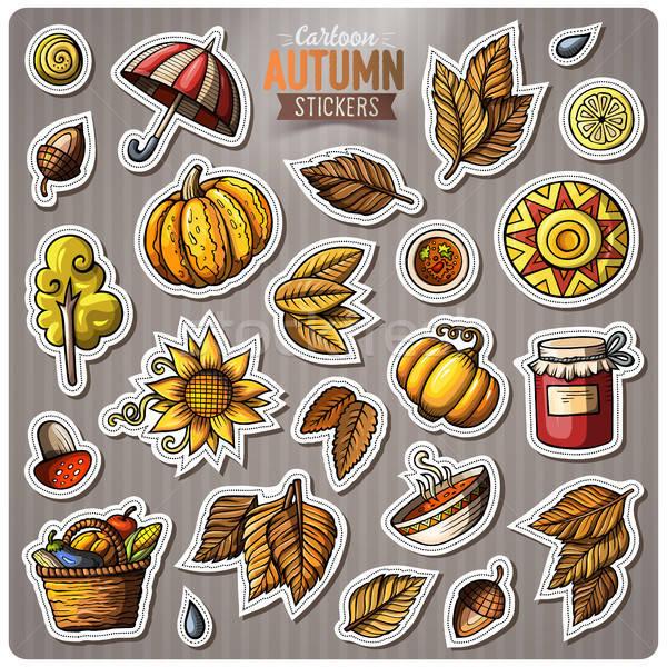 Set of Autumn season cartoon vector stickers Stock photo © balabolka