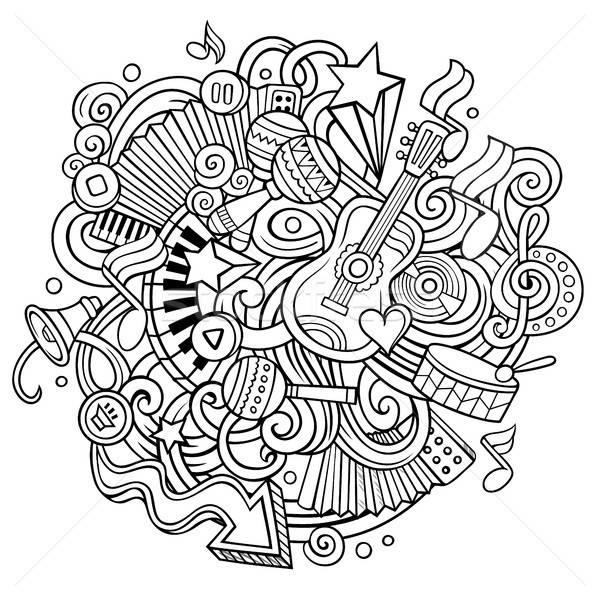 Cartoon Cute музыку иллюстрация рисованной Сток-фото © balabolka
