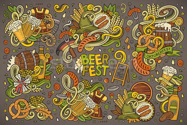 ベクトル いたずら書き 漫画 セット オクトーバーフェスト デザイン ストックフォト © balabolka