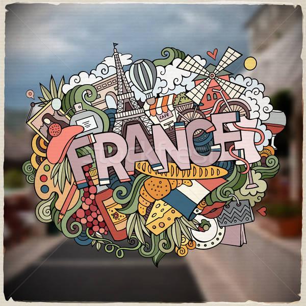 Cartoon vector hand drawn Doodle France word illustration Stock photo © balabolka