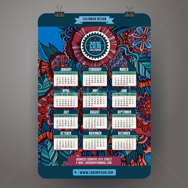 Garabatos Cartoon floral calendario 2016 año Foto stock © balabolka