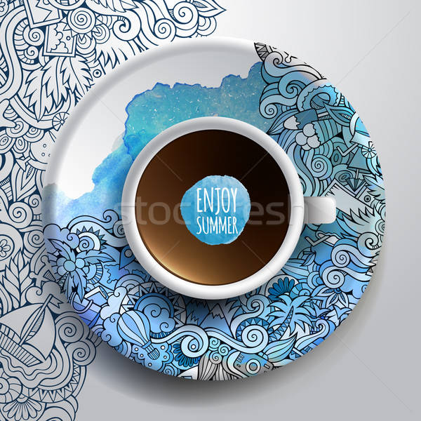 Vector illustration with a Cup of coffee and hand drawn watercol Stock photo © balabolka