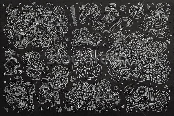 Fast food doodles hand drawn chalk board vector symbols  Stock photo © balabolka
