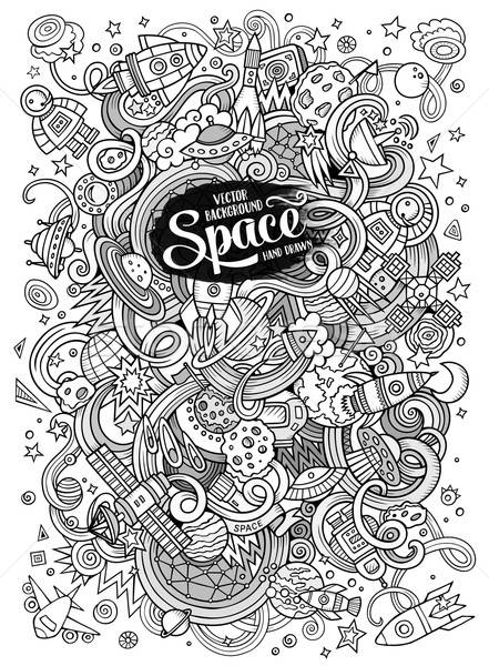 Cartoon hand-drawn doodles Space illustration. Line art detailed Stock photo © balabolka